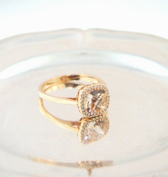 D.L. Diamonds-Antique Cushion cut Morganite in 14K Rose Gold Halo setting ring with diamond accents