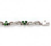 David Connolly- Emerald Flower Bracelet in White Gold Style B967EMW