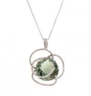 PeJay Creations- Green Amethyst and Diamond Flower Pendant Style PE11070.GA