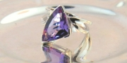 Breuning-14K White Gold Ring with Trillion cut Amethyst and Diamond Ring