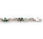 David Connolly- Emerald Flower Bracelet in White Gold Style B967EMW