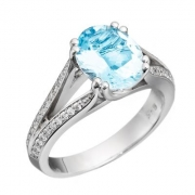 David Connolly- Aquamarine and Diamond Ring with Split Shank Style 1485AQW