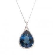 PeJay Creations- Pallette Collection London Blue Topaz and Diamond Pendant Style PE11073.LBT