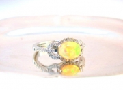 PeJay Creations-Ethiopian Opal Cabochon and Diamond Ring 14K White Gold