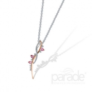 Parade Design-Color Pendant with Pink Sapphire and Diamond in Rose and White Gold P3352A-WRFS