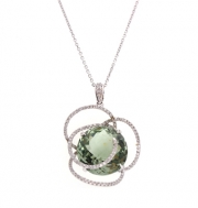 PeJay Creations- Green Amethyst and Diamond Flower Pendant Style PE11070.GA
