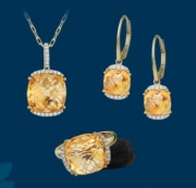 Artistry, Ltd.- Checkerboard Faceted Citrine Accented with Diamonds in Pendant, Earrings, and/or Matching Ring Style GNF44LTW10CT