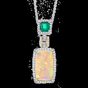 Spark Creations- Opal, Emerald,Diamond Pendant P22051-OPAL