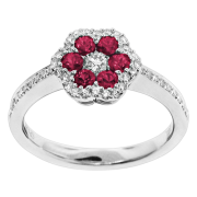 Spark Creations- Ruby and Diamond Flower Ring Style R 5988-R