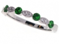 PeJay Creations- Diamond and Tsavorite Milgrain Band