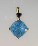 Designer-Cut Blue Topaz Pendant for Customer