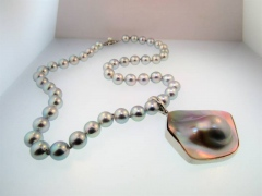 Cultured Gray Pearls and Blister Pearl Drop Pendant