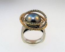 """Orbit"" Pearl Ring"