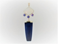 Moonstone, Tanzanite, and Lapis Pendant