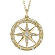 David Connolly-Gold&Diamond Compass Pendant-3076