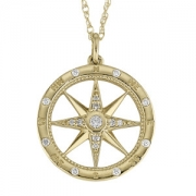 David Connolly-Gold&Diamond Compass Pendant-3076