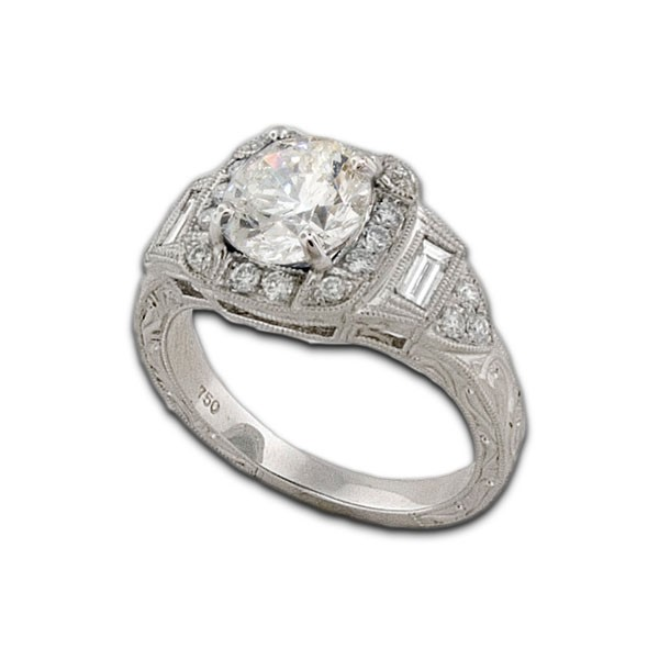 james breski designs heirloom collection antique style setting with halo style for round center stone - Gold And Silver Wedding Rings