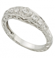 PeJay Creations- Vintage Style Band with Diamond Accents Style HC18d1