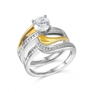 John Bagley Designs- Two-Tone Gold Diamond Semi-Mount Engagement and Wedding Band Style B015951