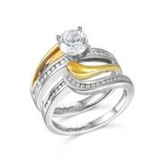 John Bagley Designs- Two-Tone Gold Diamond Semi-Mount Engagement and Wedding Band Style B015951