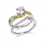 John Bagley Designs- Two-Tone Gold Diamond Semi-Mount Engagement and Wedding Band Style RGR20524