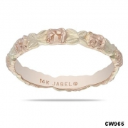 Jabel- Two Tone Rose and Leaf Carved Band CW965