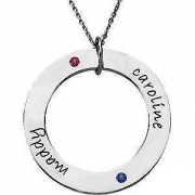 Stuller Posh Mommy-Loop Necklace Engraved with Names and Birthstones