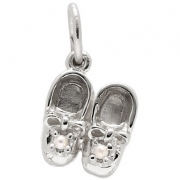 Rembrandt Charms- Sterling Silver Baby Booties with Tiny Pearl Accents