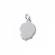 Rembrandt Charms- Sterling Silver Engravable Boy Head Charm
