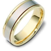 Dora Bands- Two-Tone Gold Wedding Band Style 1147