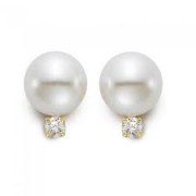Mastoloni Pearls-Classic White Pearls Studs with Diamond Accents