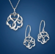 Artistry, Ltd.-Sterling Silver Linked Hearts Pendant and Earrings