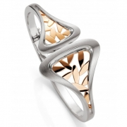 Breuning- Sterling Silver Hinged Leaf Bracelet with Rose Gold Plate Accents