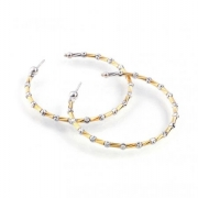 Officina Bernardi- Orecchini Yellow and Silver Beaded Hoops