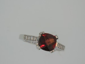 Garnet and Diamond, Vintage Style Ring