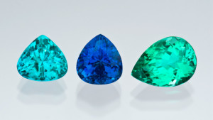 Paraiba tourmalines photographed from the GIA Collection for the CIBJO project from the Dr. Eduard J. Gubelin Collection.