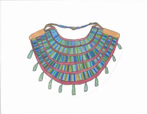 Egyptian Faience Necklace at the Kelsey Museum of Archaeology, drawn by Ellyn Marmaduke